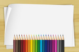 White paper and many color pencils - 174439714