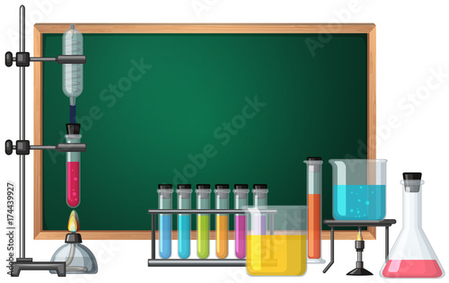 In de dag Kids Blackboard template with science equipments in background