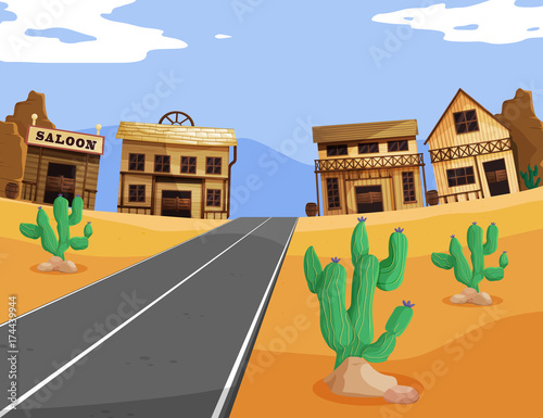 In de dag Kids Western scene with buildings and road