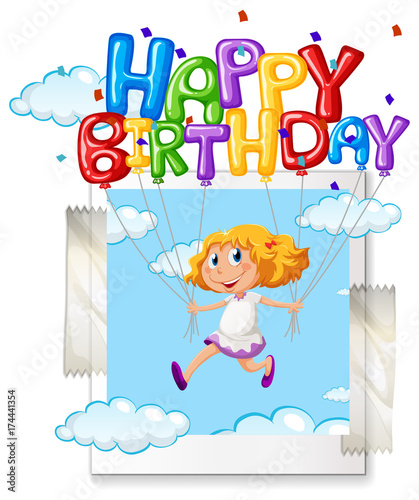 In de dag Kids Girl with happy birthday balloon on photoframe