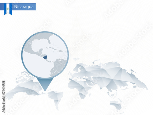 Where Is Nicaragua Located On A World Map.Abstract Rounded World Map With Pinned Detailed Nicaragua Map Buy