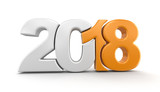 New Year 2018. Image with clipping path. - 174446988