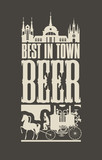 Banner On The Beer Theme  A Vintage Horsedrawn Carriage In The Old City In A Retro Style On Black  Wall Sticker