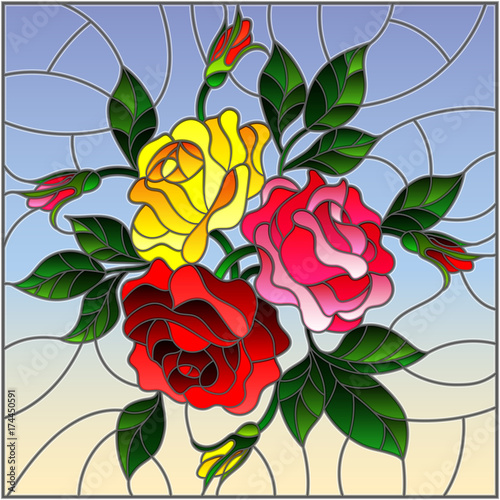 illustration-in-stained-glass-style-with-flowers-buds-and-leaves-of-roses-on-a-sky-background