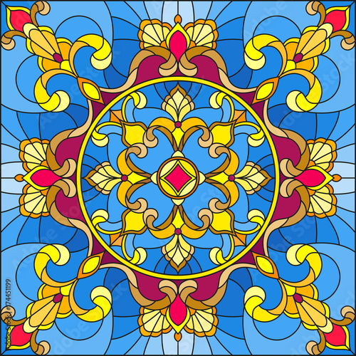 illustration-in-stained-glass-style-square-mirror-image-with-floral-ornaments-and-swirls