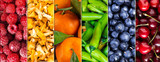 Collage of colorful fruits, mushrooms and vegetables.