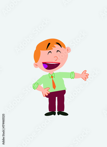 White businessman. Vector illustration isolated in a funny cartoon style. The character is happy, showing something to his side.