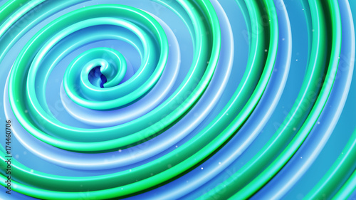 Green spiral curve abstract 3D render