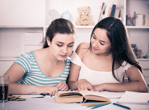 Teenagers girls studying at home