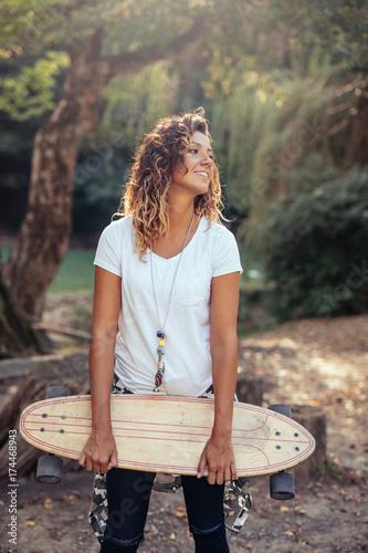 Fotobehang Skateboard Enjoying a carefree summer