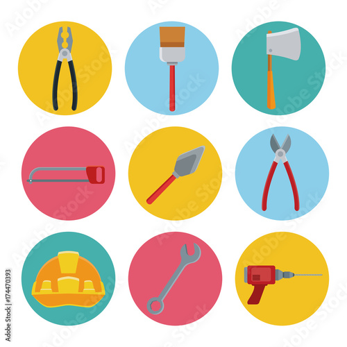 Construction tools icons set icon vector illustration graphic design