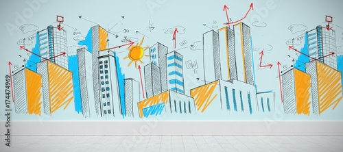 Fototapeta Composite image of cityscape sketch