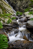 Waterfall and rocks covered with moss in the forest - 174475126
