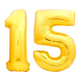 Golden number 15 fifteen made of inflatable balloon - 174478598