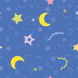 vector seamless pattern of stars and the moon
