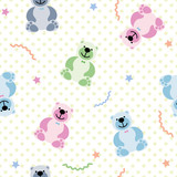 vector seamless pattern with toy bears