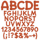 Alphabet, letters, numbers and signs from wooden boards. Isolated vector objects on white background.