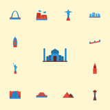 Flat Icons Seattle, America, India Mosque And Other Vector Elements. Set Of Landmarks Flat Icons Symbols Also Includes Tienanmen, Stonehenge, Square Objects. - 174500309