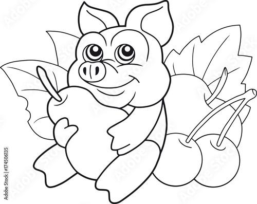 Papiers peints Cartoon draw funny cartoon pig with a pear
