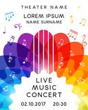 Music concert poster design. Vector template for flyer, banner, invitation.