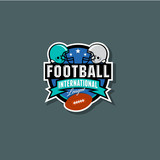 American Football logo. American Football emblem. Helmets and ball in the circle with ribbon and stars. - 174509900