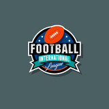 American Football logo. American Football emblem. Ball in the circle with ribbon and stars. - 174509905
