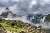 East side of Machu Picchu with rain clouds - 174517980
