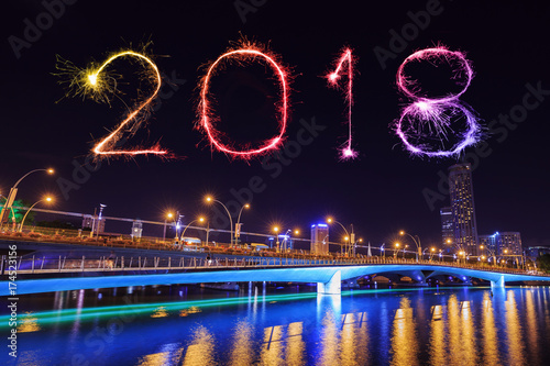 2018 Happy new year firework with Jubilee bridge at night, Singapore Poster