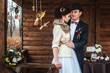 couple in love celebrating wedding in autumn