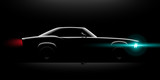 realistic classic car coupe side view lighting in the dark