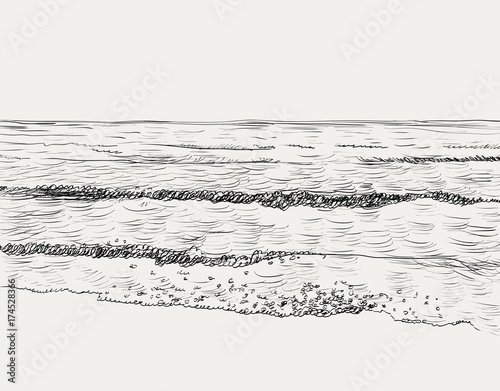 Vector summer seascape sketch. Seaside view and beach - 174528366