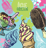 Hand drawn doodle ice cream illustration. Ice cream is always a good idea. - 174528517