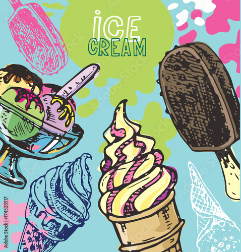Aluminium Graffiti Hand drawn doodle ice cream illustration. Ice cream is always a good idea.