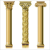 Set of classic gold columns - 174529919