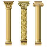 Set of classic gold columns - 174529919