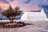 Oia Village, Santorini Cyclade islands, Greece. Beautiful view of a white church in caldera. - 174537930