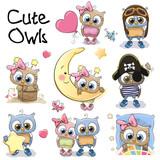 Fototapety Set of Cute Cartoon Owls