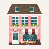 City cafe. Street cafe on big city background. Coffee shop. Flat design. Vector illustration. - 174547135