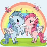 Cute Unicorns on a rainbow background - 174547584