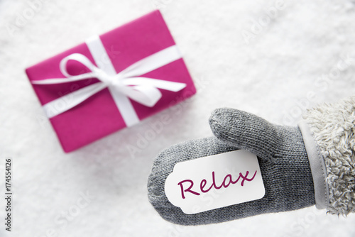 Pink Gift, Glove, Text Relax - 174554126