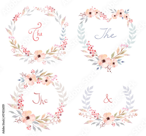 Poster Vlinders in Grunge Vector Set of cute retro flowers arranged un a shape of the wreath perfect for wedding invitations and birthday cards