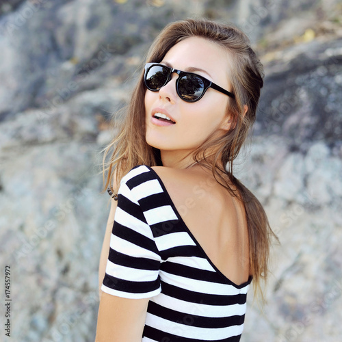 Girl in sunglasses - close-up