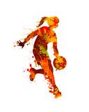 Basketball player. Woman. Splash watercolor paint