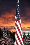 A patriotic field of flags backed by a blazing sunset. - 174563150