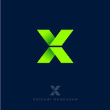 X logo. X origami letter. Origami arrows emblem. Delivery or construction logo. - 174568503