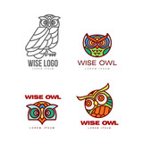 Set of colorful and outlined owl logo templates, vector illustration isolated on white background. Owl head and body logo, logotype, badge templates for companies, schools and colleges