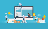 Web design. Flat design concept for website and app design and development. Vector illustration concept for web banner, business presentation, advertising material. - 174585108