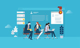 Human resources. Flat design business people concept for career, job search, employment, professional skill. Vector illustration concept for web banner, business presentation, advertising material. - 174585157