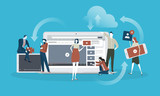 Video. Flat design concept for live streaming, movie, video marketing. Vector illustration concept for web banner, business presentation, advertising material. - 174585320