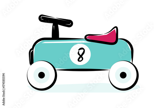 Fotobehang Auto Race Car. Line Art Vector Illustration Of A Blue Vintage Racing Car Toy.